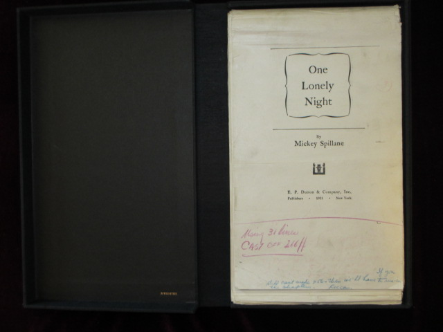 ONE LONELY NIGHT [Galley Proofs]. Mickey Spillane.