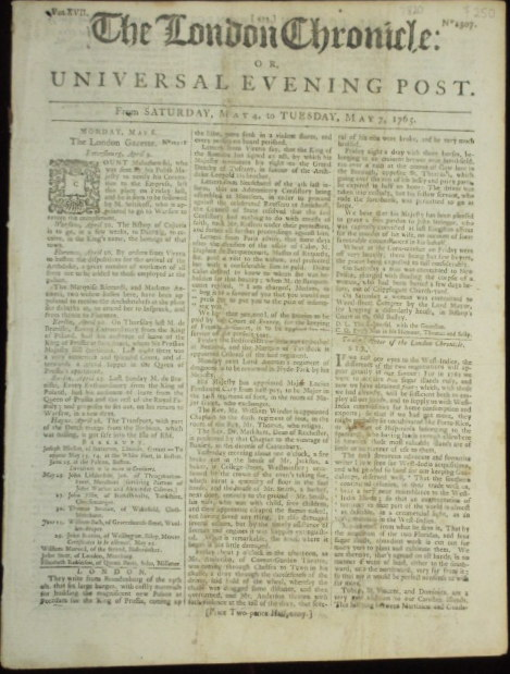 The London Chronicle or, Universal Evening Post. J. At the Bible Wilkie.