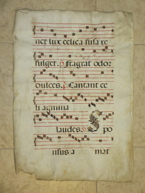 "Manuscript Antiphonal Leaf on Vellum (22"" x 31""). Illuminated Manuscript."