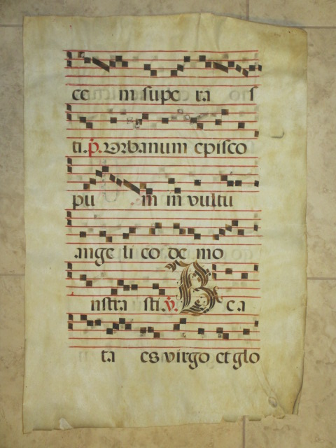 Manuscript Antiphonal Leaf on Vellum, Early 17th Century. Illuminated Manuscript.