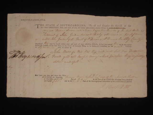 Document Signed, Partially Printed. Thomas Hayward, Signer of the Declaration of Independence.