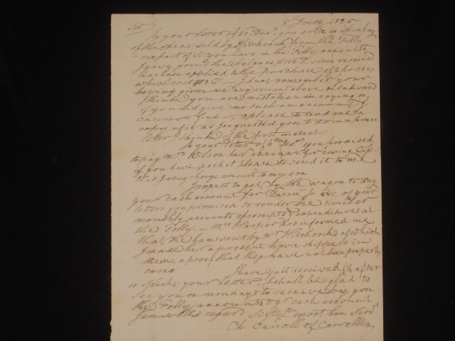 Autograph Letter Signed. Charles Carroll, of Carrollton, Signer of the Declaration of Independence.