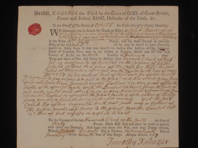 Document Signed, Partly Printed. Robert Treat Paine, Signer of the Declaration of Independence.