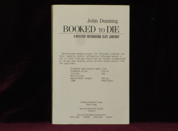 BOOKED TO DIE. A Mystery Introducing Cliff Janeway. John DUNNING, SIGNED.