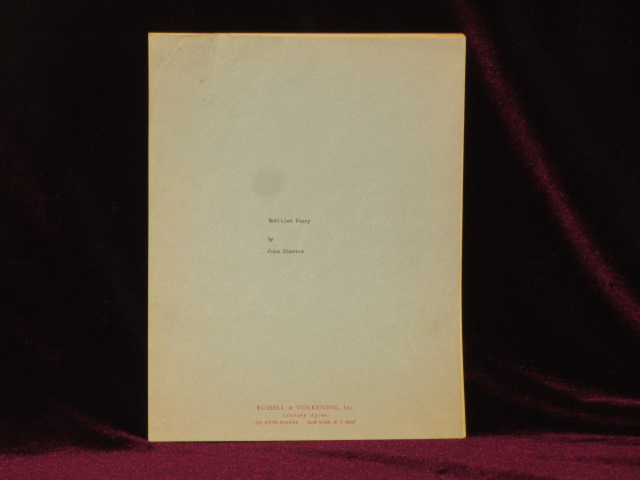 ORIGINAL TYPSECRIPT OF UNTITLED STORY (Published as Geometry of Love). John Cheever.