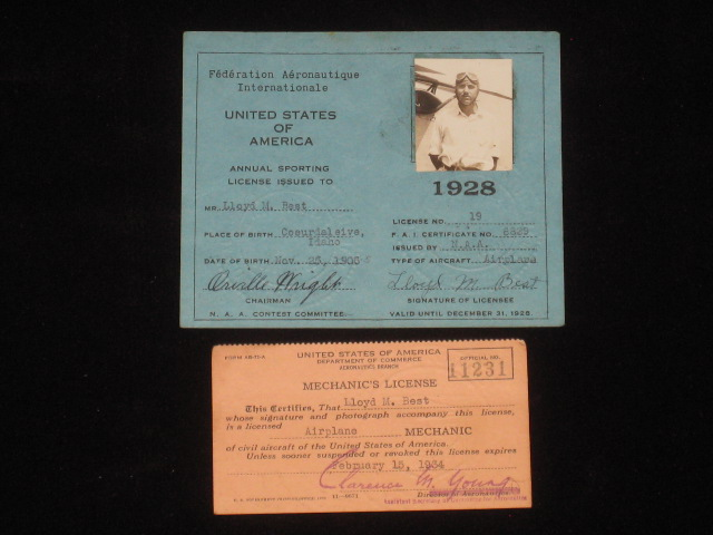 """Pilot's License; Annual Sporting License for 1928, Signed By Orville Wright, Together with Photos and Related Items. Orville Wright, Douglas """"Wrong Way"""" Corrigan, Charles Lindbergh, Lloyd M. Best, T. Claude Ryan, John Van Der Linde, J. J. """"Red"""" Harrigan, B. F. Mahoney, Hawley Bowlus, Donald A. Hall."""