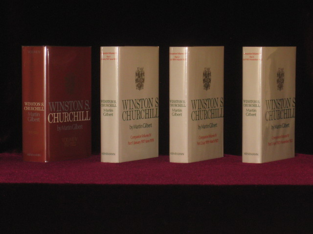 Winston S. Churchill, Volume IV, 1917 (tp Says 1916) - 1922 [together with] Companion Volume IV, Part 1, Jan. 1917-June 1919; Companion Volume IV, Part 2, July 1919-March 1921; Companion Volume IV, Part 3, April 1921-Nov. 1922. Martin Gilbert, Winston S. Churchill.