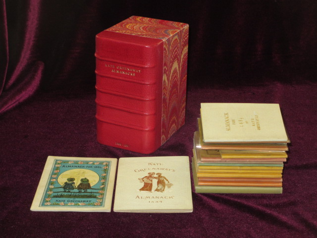 Almanacks for 1883-1895 and 1897, A Complete Set, 17 Volumes (3 are duplicates) Almanack. Kate Greenaway.