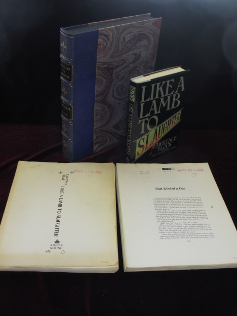 LIKE A LAMB TO SLAUGHTER (Inscribed), with the Corrected Typescript of 10 of the Stories and with the Master Set of 1st Pass Proofs, Unbound. Lawrence Block, SIGNED.
