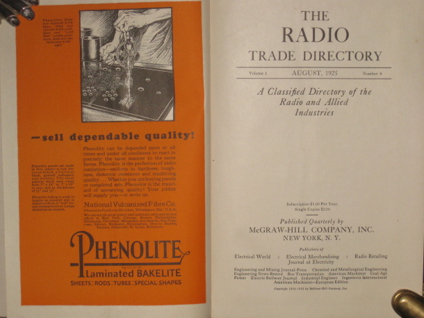 THE RADIO TRADE DIRECTORY, Volume 1, August, 1925, Number 4