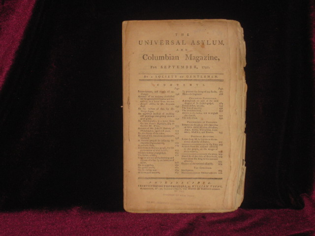 The Universal Asylum, and Columbian Magazine, for September, 1792. A Society of Gentlemen.