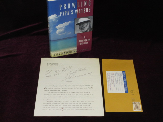 Prowling Papa's Waters, A Hemingway Odyssey. With Signed Typescript of the Forward By Ted Williams. H. Lea Lawrence, Ted Williams, SIGNED.