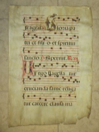 "Manuscript Antiphonal Leaf on Vellum (22"" x 31"")"