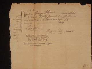 Document Signed, Partly Printed. George Clymer, Signer of the Declaration of Independence.