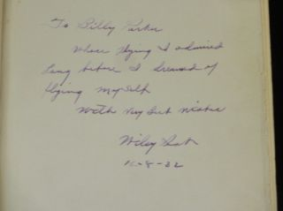 Around the World in Eight Days. INSCRIBED BY WILEY POST TO LEGENDARY PIONEER AVIATOR BILLY PARKER - LICENSE #44.