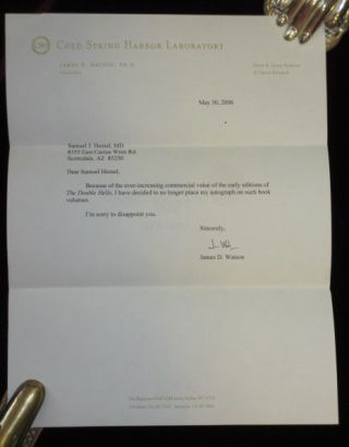 THE DOUBLE HELIX. A Personal Account of the Discovery of the Structure of DNA. With Typed Letter Signed By James D. Watson. James D. Watson.