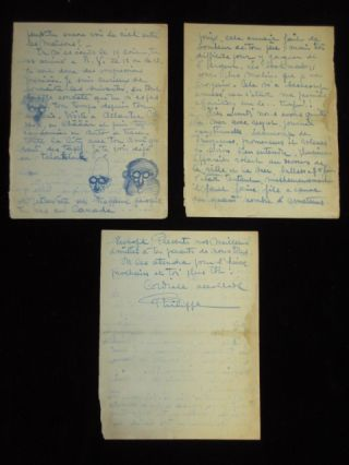 Autograph Letter Signed, in French, with 3 Caricature Drawings