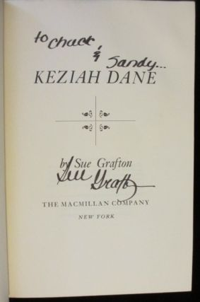 KEZIAH DANE. Sue GRAFTON, SIGNED