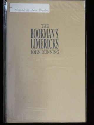 THE BOOKMAN'S LIMERICKS. John DUNNING, SIGNED.