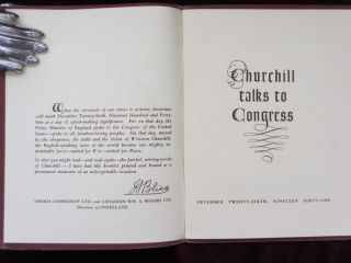CHURCHILL TALKS TO CONGRESS. December Twenty-Sixth, Nineteen Forty-One. Sir Winston Churchill
