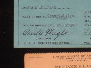 Pilot's License; Annual Sporting License for 1928, Signed By Orville Wright, Together with Photos and Related Items