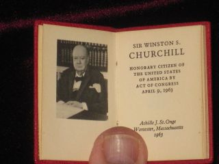 Sir Winston S. Churchill Honorary Citizen of the United States of America By Act of Congress April 9, 1963