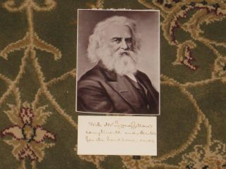 "THE COURTSHIP OF MILES STANDISH, and Other Poems, With Autograph Note Signed and a 4"" x 6"" Photo of the Author."