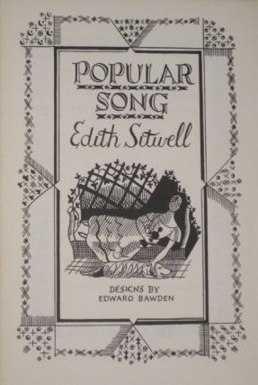 POPULAR SONG. Edith Sitwell, SIGNED