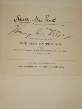 THE MAN ON THE BOX [Signed, with Manuscript Page of quotes]