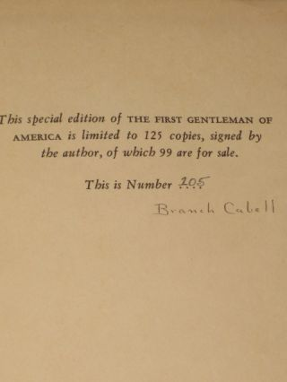 The First Gentleman of America. Branch Cabell, SIGNED