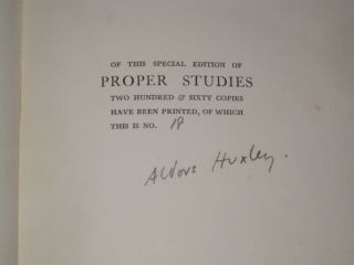 Proper Studies [With Bookplate of Matilda Constance Ismay]. Aldous Huxley, SIGNED.