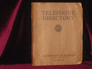 Telephone Directory; County of Los Angeles, October 1933