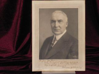 Photograph, Portrait; Inscribed; Signed; Autograph. Warren G. Harding, President