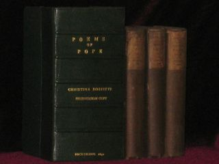 The Poetical Works of Alexander Pope - Christina Rossetti's Copy Inscribed to Her Mother. Three Volumes. Alexander POPE, Christina Rossetti.