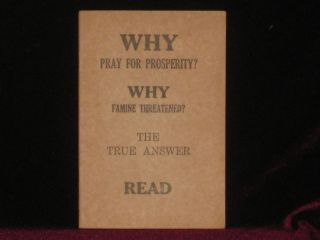 Why Pray for Prosperity? Why Famine Threatened? The True Answer. Read. Judge Rutherford