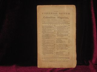 The Universal Asylum, and Columbian Magazine, for February, 1792. A. Society of Gentlemen.