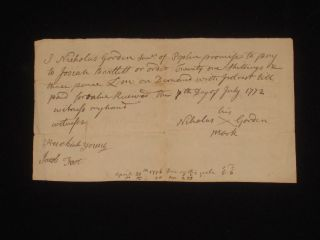 Autograph Document Signed; Promissory Note, Docketed on April 20th, 1776. Josiah Bartlett, Signer of the DOI.