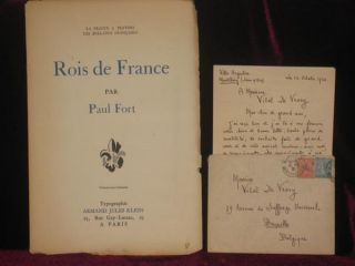 Rois De France. Paul Fort, SIGNED